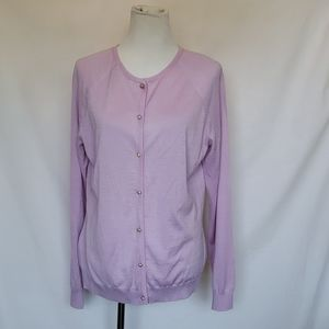 ST.JOHN Lavender cardigan with a jewel buttons L